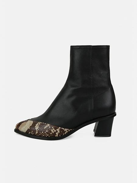 MENODEMOSSO国际品牌品牌拼接短靴高跟鞋