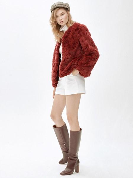 MOLLIOLLI国际品牌品牌复古红羊羔毛外套