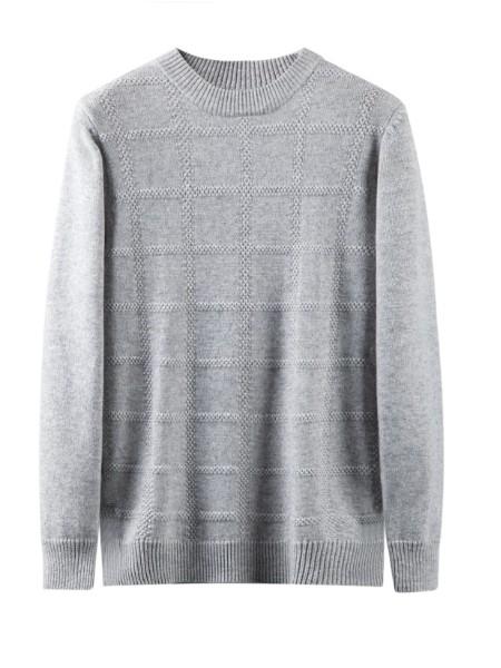 纳匹休新款男士加厚日系山羊绒衫纯色韩版方形格针织打底衫包邮