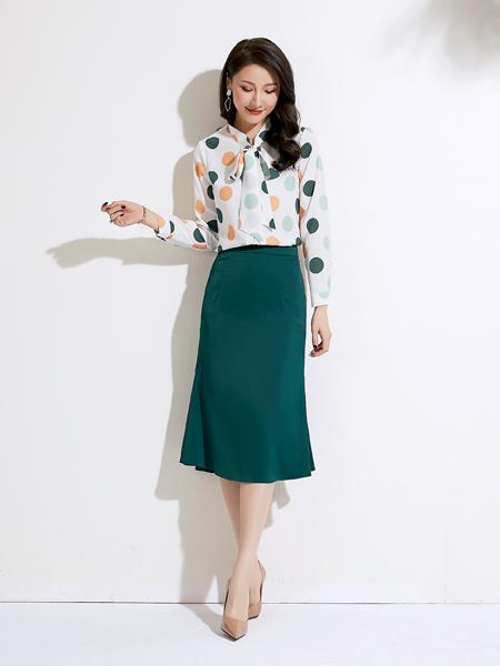 爱依莲女装品牌2020春夏彩色波点衬衣