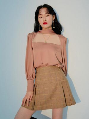 DYBY国际品牌2020春夏淑女格纹拼带装饰百褶细节A字毛呢半身裙_棕色
