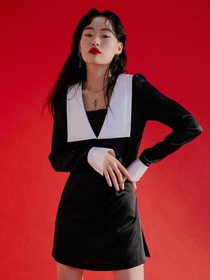DYBY国际品牌2020春夏修身撞色设计缎面长袖短款连衣裙_黑色