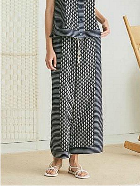 NARU KANG国际品牌品牌2020春夏宽松民族风条纹单排扣装饰女士背心_藏青色
