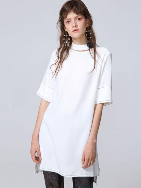 naturalizer国际品牌品牌2020春夏镂空半高领不对称下摆短袖连衣裙_白色