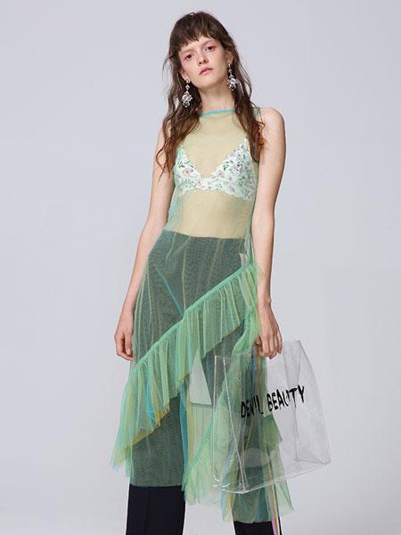 naturalizer国际品牌品牌2020春夏不对称荷叶边下摆透明薄纱背心连衣裙_多色