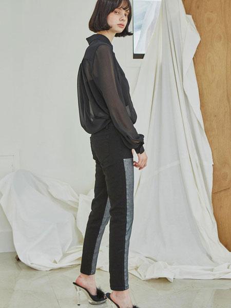 sorry too much love国际品牌品牌2020春夏经典修身拼接拼色女士小脚牛仔裤_银色