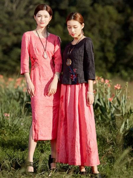 曼茜纱女装品牌2020春夏新款桃红系列印花连衣裙
