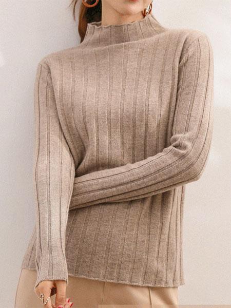 MOKOO女装品牌2019秋冬新款半高领毛衣