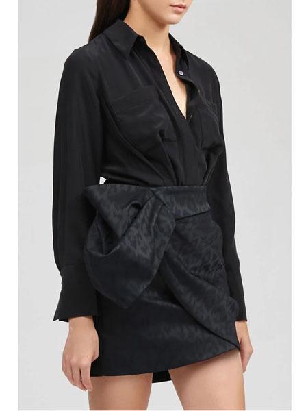 Acler国际品牌品牌2020春夏皇家衬衫黑色