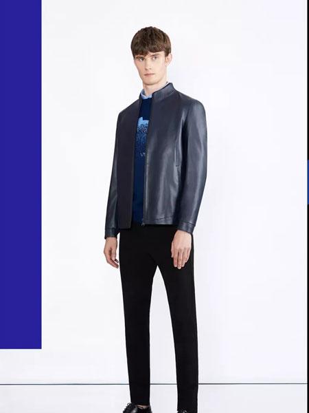 华萨尼男装品牌2019秋冬新款纯色真皮拉链外套