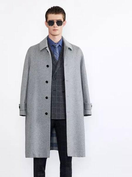 华萨尼男装品牌2019秋冬新款个性纯色纽扣大衣