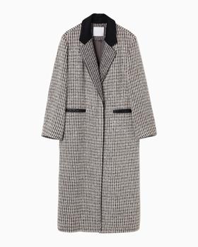 Mame kurogouchi国际品牌品牌2020春夏格子La花呢长大衣-灰色