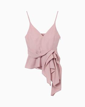 Mame kurogouchi国际品牌品牌2020春夏垂褶吊带背心-粉色