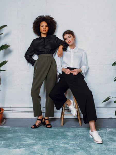 StaSa国际品牌品牌2020春夏新款纯色简洁松垮裤子