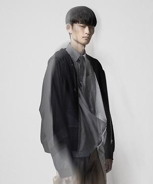 Anrealage国际品牌品牌2020春夏新款纯色拼贴运动衫