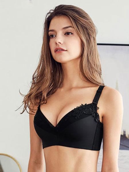 夏娃之秀新品蕾丝刺绣聚拢文胸侧收调整收副乳性感胸罩女内衣包容稳定 精致蕾丝 美背收脂