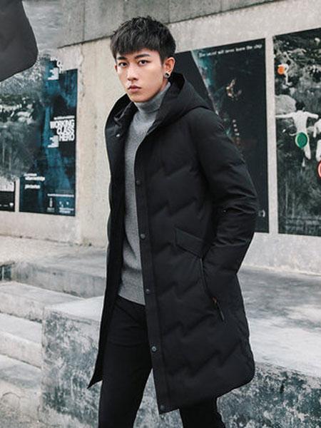 杰尼威尼男装品牌2019秋冬新款成熟带帽纯色长款羽绒服