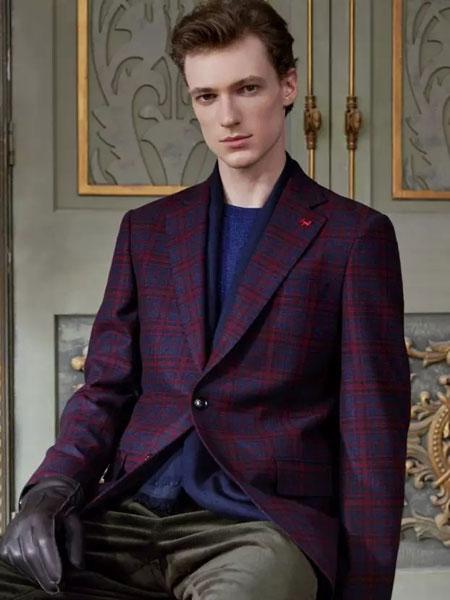 马克西姆西服定制服装定制品牌2020春夏威尔士亲王格纹外套
