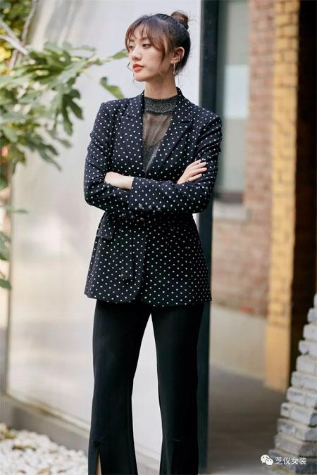 芝仪女装品牌2020春夏新款波点长袖衬衫