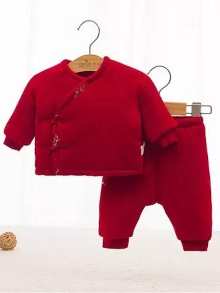 素芽soeioe童装品牌2019秋冬新款红色棉服纽扣套装