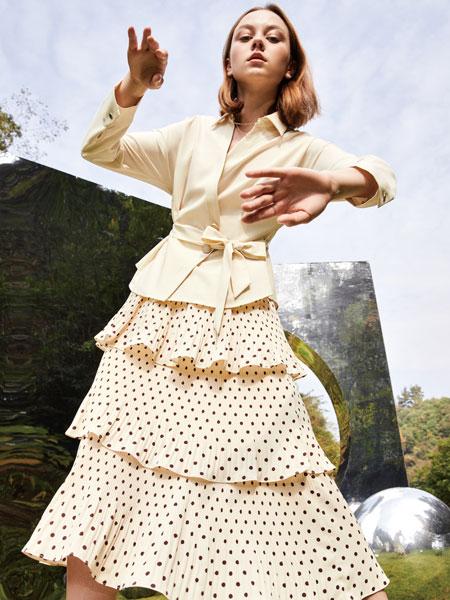 你即永恒女装品牌2020春夏新款波点长款蛋糕裙