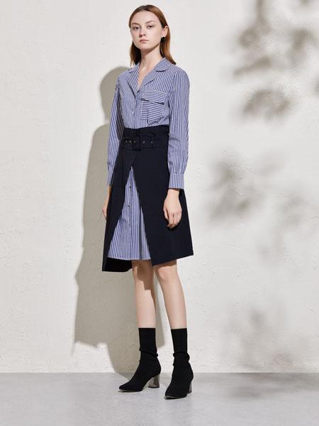 你即永恒女装品牌2020春夏新款拼接色衬衫式连衣裙