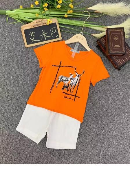 网红潮牌【艾米巴】夏款时尚纯棉套装短T短裤两件套批发