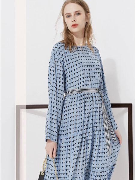 藏九女装品牌2020春夏新款纯色格子长袖连衣裙