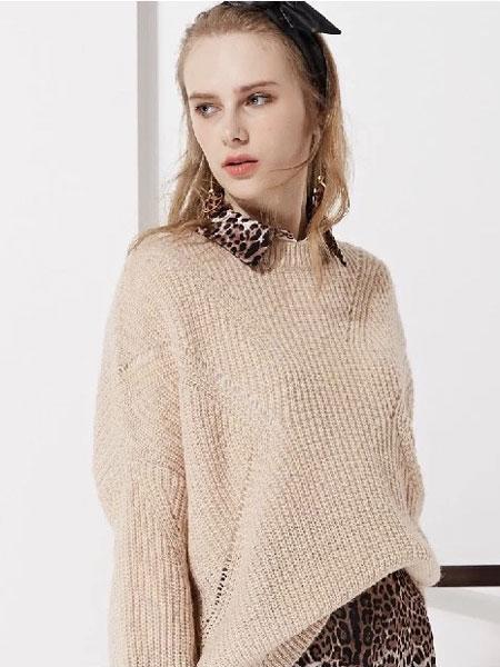 藏九女装品牌2020春夏新款纯色毛呢针织长袖卫衣