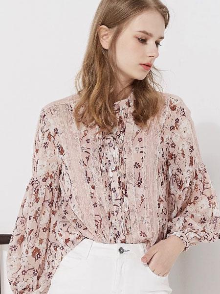 藏九女装品牌2020春夏新款纯色印花真丝长袖衬衫