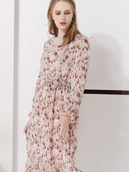 藏九女装品牌2020春夏新款纯色印花真丝长袖连衣裙