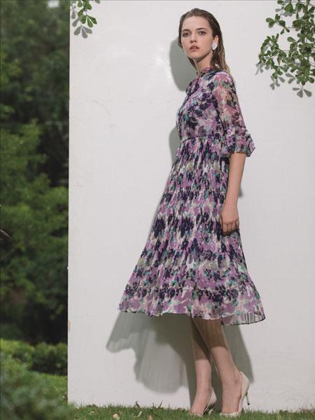 浩洋国际女装品牌2020春夏新款印花气质连衣裙