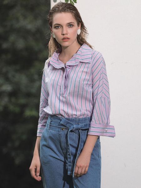 浩洋国际女装品牌2020春夏新款条纹纽扣衬衫