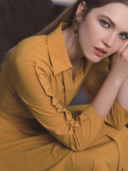浩洋国际女装品牌2020春夏新款纯色气质连衣裙