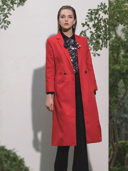 浩洋国际女装品牌2020春夏新款纯色纽扣大衣