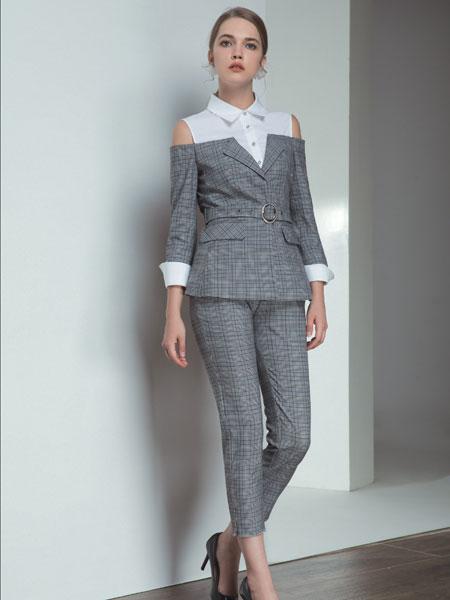 浩洋国际女装品牌2020春夏新款格子性感成熟西装套装