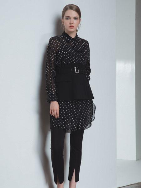 浩洋国际女装品牌2020春夏新款腰带波点裙子套装