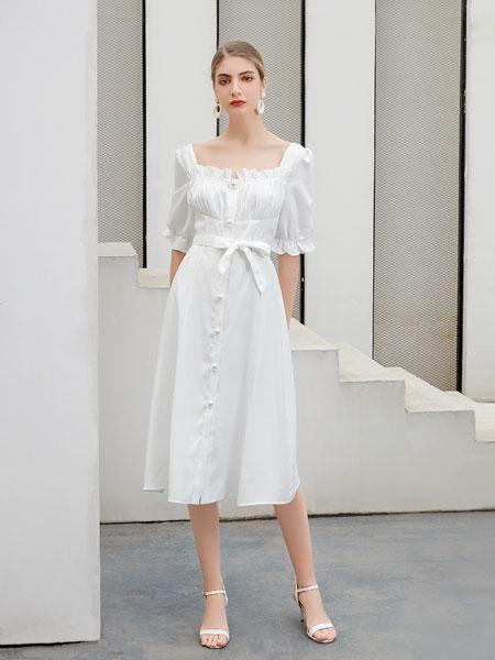 艾丽哲女装品牌2020春夏新款纯色简洁连衣裙