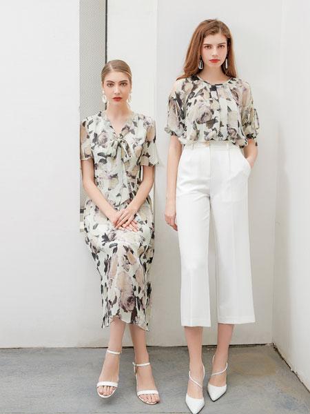 艾丽哲女装品牌2020春夏新款真丝印花连衣裙