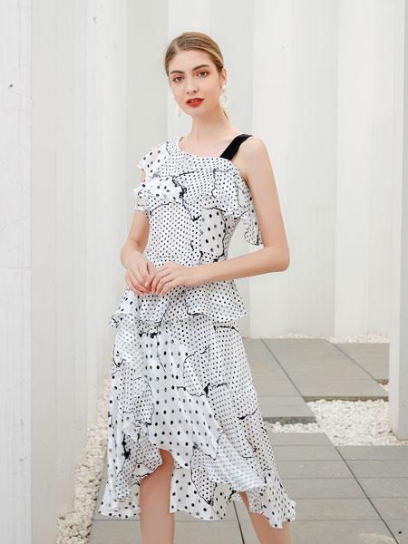 艾丽哲女装品牌2020春夏新款波点简洁连衣裙