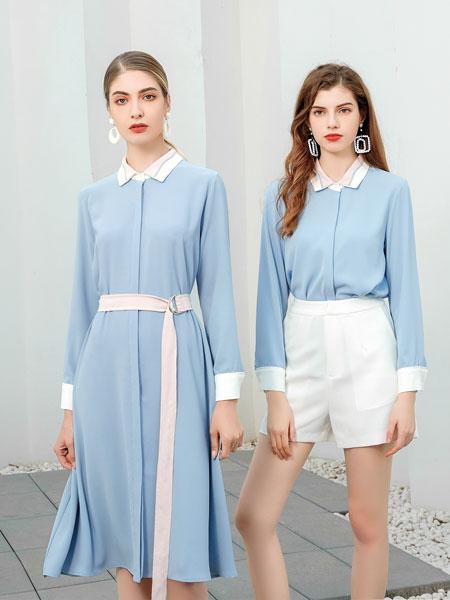 艾丽哲女装品牌2020春夏新款纯色清新连衣裙