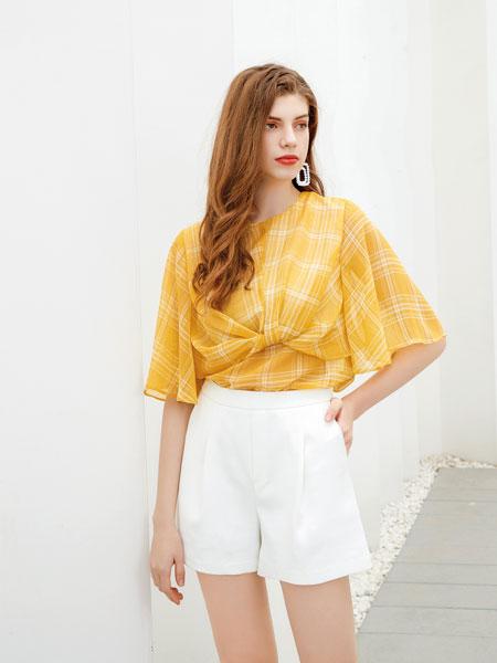 艾丽哲女装品牌2020春夏新款纯色真丝中袖上衣