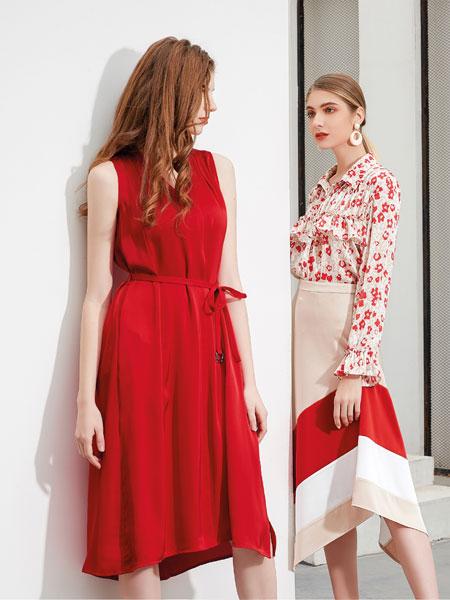 艾丽哲女装品牌2020春夏新款纯色印花时尚连衣裙