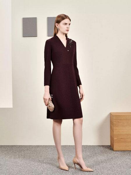 胜姿SZ女装品牌2020春夏新款纯色羊毛连衣裙