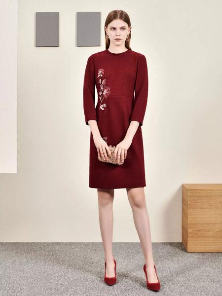 胜姿SZ女装品牌2020春夏新款绣花羊毛连衣裙