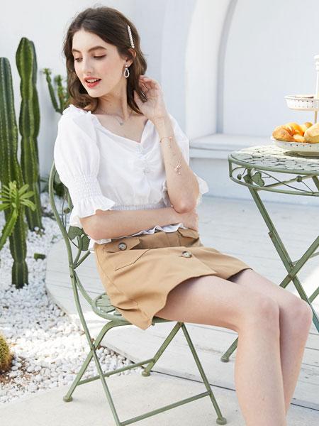 容悦女装品牌2020春夏新款纯色简洁缕空上衣