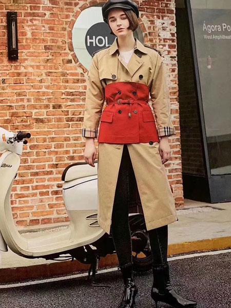 夺宝奇兵女装品牌2020春夏新款腰带式长裤大衣