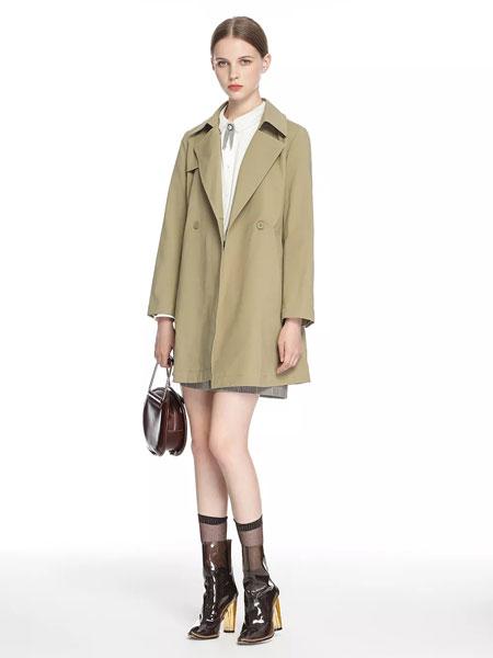 拍普儿女装品牌2020春夏新款纯色纽扣长款外套大衣