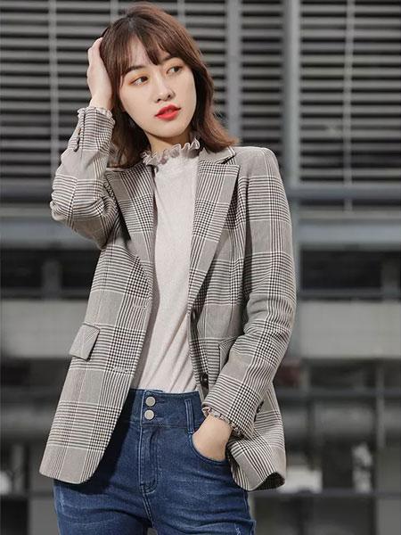 拍普儿女装品牌2020春夏新款格子条纹西装外套