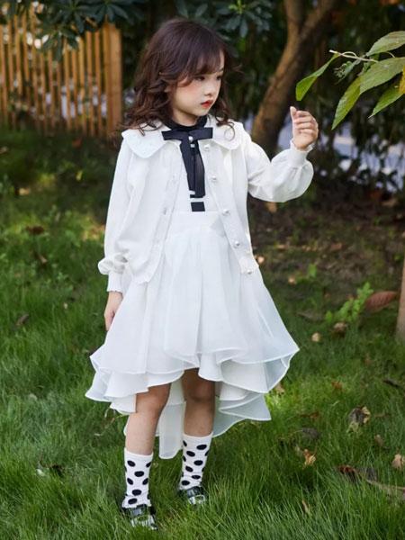 小资范童装品牌2020春夏新款白色透纱公主裙
